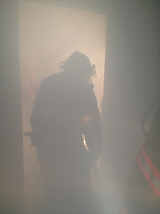 Firefighters training in smoky conditions