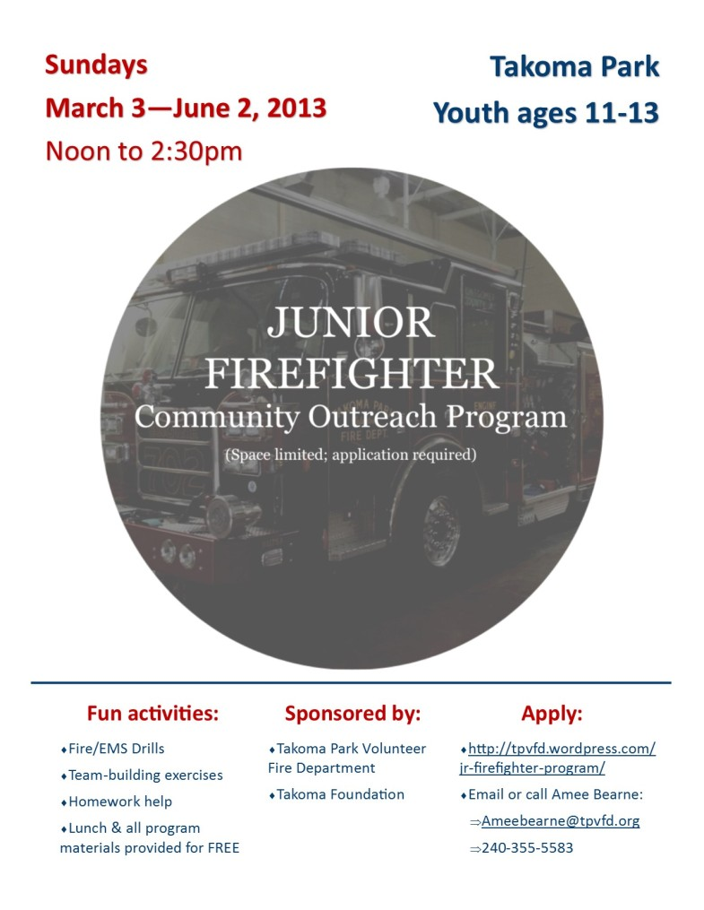 English Jr. Firefighter program flyer