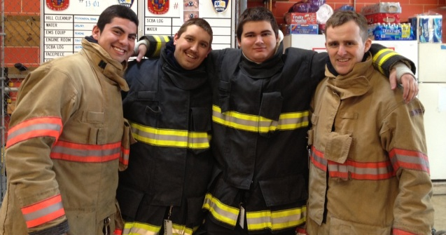 TPVFD Volunteers in Fire Class (L-R): Enrique Alfaro, Marc Anastasi, Armin Cannon, Adam Bearne