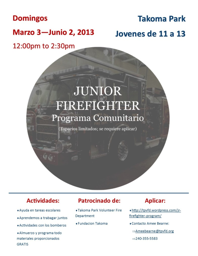 Spanish Jr. Firefighter program flyer
